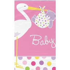 Table Cover-Baby Girl Stork-Plastic-54'' x 84'' - Discontinued