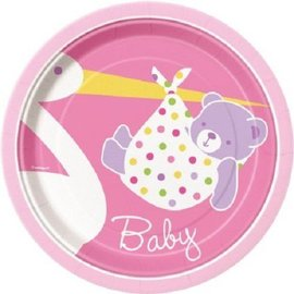 Plates-BEV-Baby Girl Stork-8pk-Paper - Discontinued