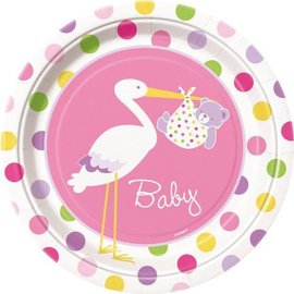 Plates-LN-Baby Girl Stork-9pk-Paper - Discontinued