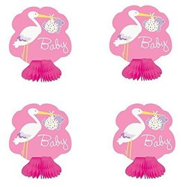 Centerpiece-Baby Girl Stork-4pk