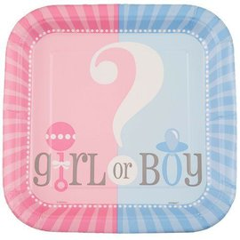 Plates-LN-Gender Reveal-8pk-Paper - Discontinued