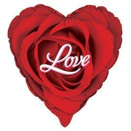 Foil Balloon - Red Rose Heart - 18''