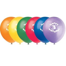 Balloons-Latex-Happy 3rd bday-12'' (6pk)