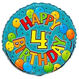 Foil Balloons - 4th Birthday - 18''