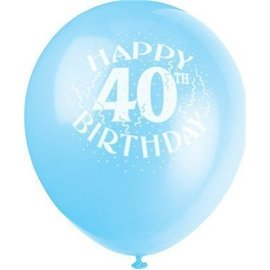 Balloons-Latex-Happy 40th Anniversary-12'' (6pk)