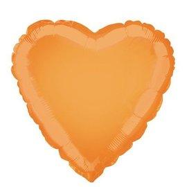 "Foil Balloon - Heart - Orange - 18"""