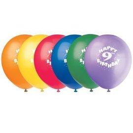 Balloons-Latex-Happy 9th Bday-12'' (6pk)