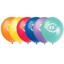 Balloons-Latex-Happy 11th Bday-12'' (6pk)