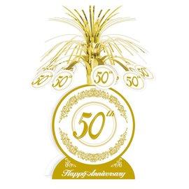 """Centerpiece-Foil Cascade-Golden 50th Anniversary-1pkg-13"""""""