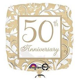 "Foil Balloon - Gold Scroll 50th Anniversary - 18"""