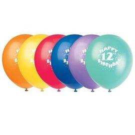 Balloons-Latex-Happy 12th Bday-12'' (6pk)