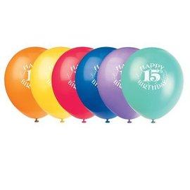 Balloons-Latex-Happy 15th Bday-12'' (6pk)