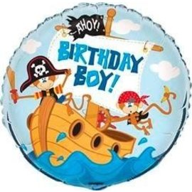 Foil Balloon - Pirate Ahoy Birthday Boy - 18''