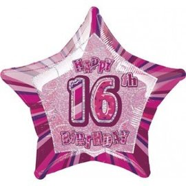 Foil Balloon - Happy 16th Birthday Star - 20""
