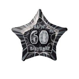 "Foil Balloon - Happy 60th Birthday Star - 20"""