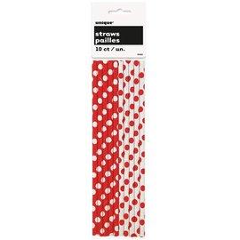 """Paper Straws- Blue & White Dots- 10pk/8"""""""