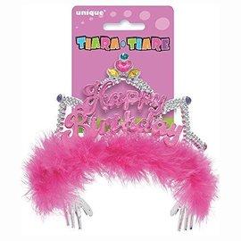 Tiara- Pink Happy Birthday with Pink Fur