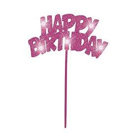 Cake Decor-Flashing-HBD-Pink