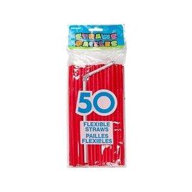 "Plastic Flexible Straws- Red- 50pk/8"""