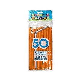"Plastic Flexible Straws- Orange- 50pk/8"""