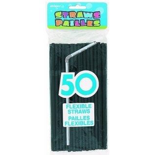 "Plastic Flexible Straws- Black- 50pk/8"""