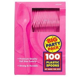 Spoons-Premium-Bright Pink-Box/100pkg-Plastic