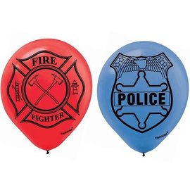 Balloons-Latex-LEGO City-FireFighter&Police-6pk