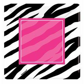 Plates-BEV-Zebra Party-8pk-Paper - Discontinued