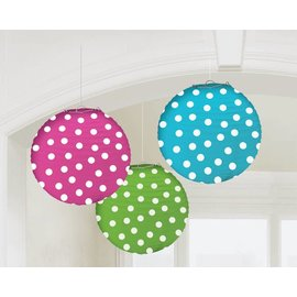 Paper Lanterns-Dots Multi-3pk-9.5''