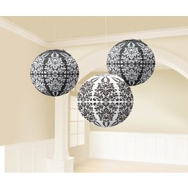 Paper Lanterns-Black Damask-3pk-9.5''