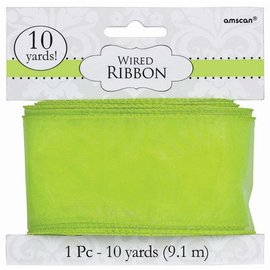 Wired Ribbon- Green-9.1m