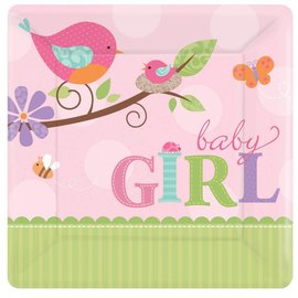 Plates-BEV-Tweet Baby Girl-8pk-Paper - Discontinued