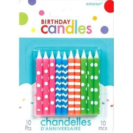 Birthday Candle-Neon-10pk/2.5''