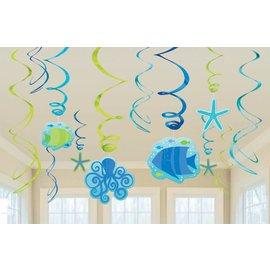 Danglers-Swirl Decorations- Summer Sea-12pk