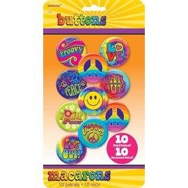 Button Set- 60's Groovy-10pk