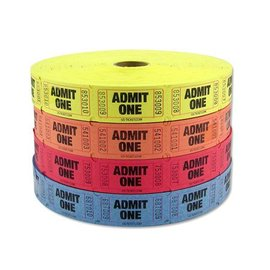 Ticket Roll-Admit One-Multi Color-1000pk/2.25''