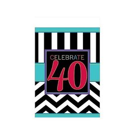 Table Cover- 40th Celebration-Plastic-54'' x 102''