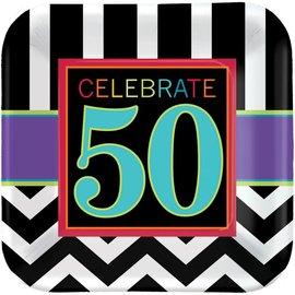 Plate-BEV-50 Bday Celebration-8pk-Paper - Discontinued