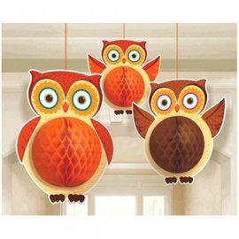 Danglers-Honeycomb Owl-3pkg-Tissue & Paper-3pk