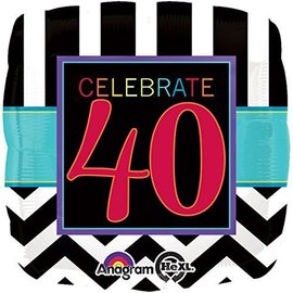 Foil Balloon - Celebrate 40 Chevron - 18""