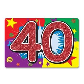 "Cutout-Glitter-40th Celebration-1pkg-10""x15"""
