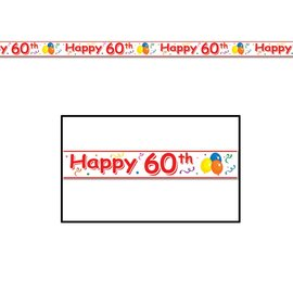 Party Tape-Plastic-Happy 60th Birthday-1pkg-20ft