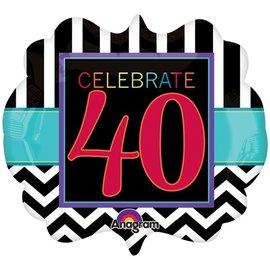 "Foil Balloon - Celebrate 40 Chevron - 25""x22"""