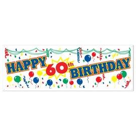 Sign Banner-Plastic-Happy 60th Birthday-1pkg-5ft