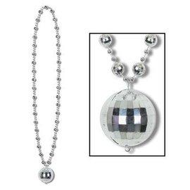 "Bead Necklace-Disco Ball Medallion-1pkg-36"""
