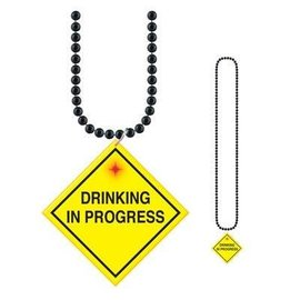 Bead Necklace-Drinking In Progress Medallion-1pkg-33""
