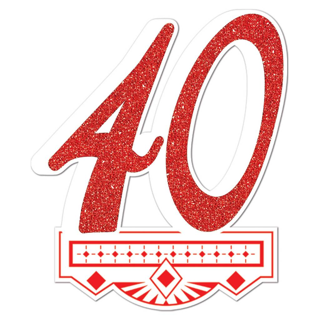 cutout glitter red 40th anniversary crest 1pkg 14 victoria party