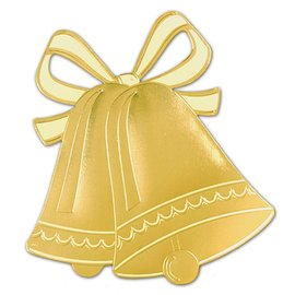 Cutout-Gold Wedding Bells Silhouette-1pkg-16.5""