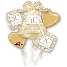 Foil Balloon Bouquet - Golden 50th Anniversary - 5 Balloons
