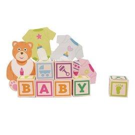 "Centerpiece with Favor Boxes-Baby Bear Blocks-1pkg-14.75"""